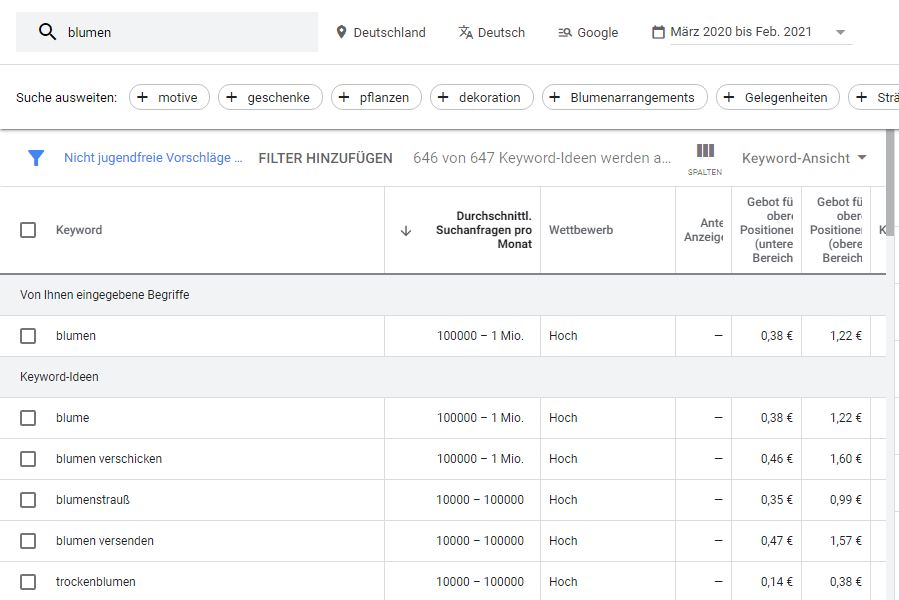 Recherche für SEO-Texte mit dem Keyword-Planer